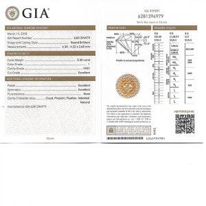 ใบเซอร์เพชรน้ำ 95 ขนาด 30 ตังคฺ์ - GD1860