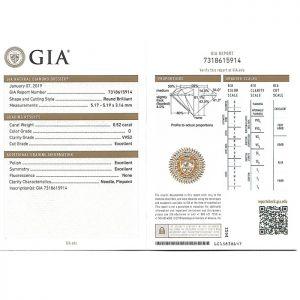 ใบเซอร์ GIA เพชรน้ำ 100 ขนาด 52 ตังค์