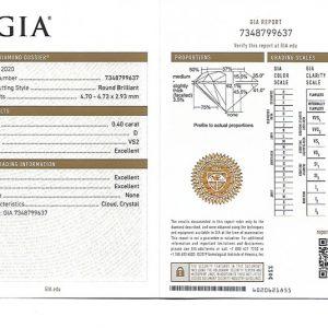 ใบเซอร์ GIA เพชรน้ำ 100 ขนาด 40 ตังค์