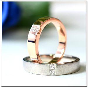 แหวนแต่งงาน แหวนคู่ 18K pink gold, Platinum950