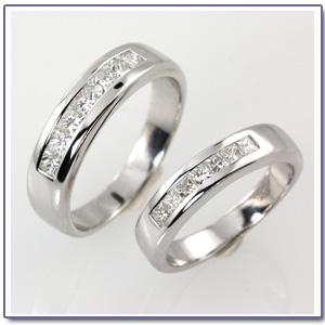 แหวนคู่ แหวนแต่งงานฝังเพชรสี่เหลี่ยม -GR1034