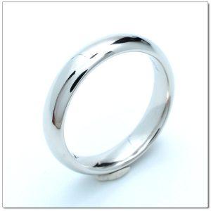 แหวนเกลี้ยงทองคำขาวหน้าโค้ง