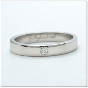แหวนทองคำขาว แหวนแต่งงานฝังเพชร